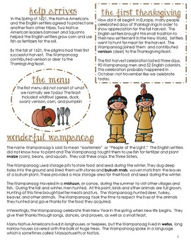History of Thanksgiving Informational Text (Newspaper-Style Bingo)