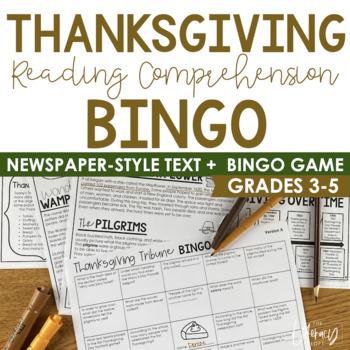 Thanksgiving Informational Text (Newspaper-Style Bingo)