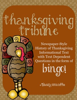 History of Thanksgiving Informational Text (Newspaper-Styl