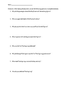 History of Thanksgiving Reading Comprehension Worksheet - No Prep