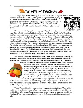 History of Thanksgiving Reading Comprehension Worksheet - No Prep