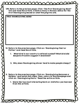 History of Thanksgiving History.com Webquest