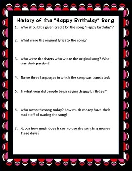 History of The Happy Birthday Song Informational Reading Passage and Questions