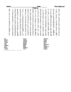 History of Theatre Word Search