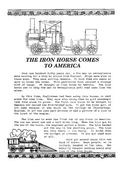 History of Trains Unit, Activities and Handouts