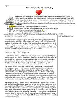 History of Valentine's Day Close Reading/Summary Writing-11th Grade