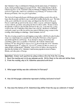 History of Valentine's Day Close Reading/Summary Writing-8th Grade