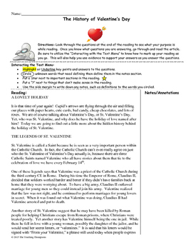 History of Valentine's Day Close Reading/Summary Writing-9th Grade