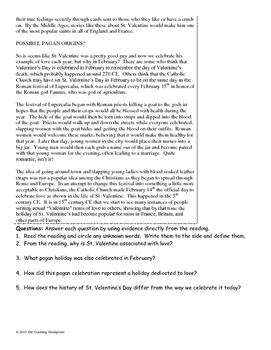 History of Valentine's Day Close Reading/Summary Writing-9th Grade