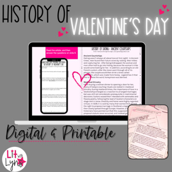 History of Valentine's Day &  Courtships- Close Reading & Writing Activities
