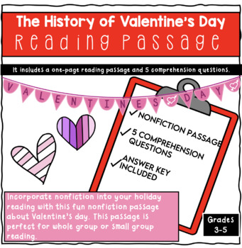 History of Valentine's Day Reading Comprehension Passage
