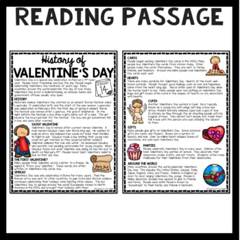 History of Valentine's Day Reading Comprehension Worksheet, February, Holiday