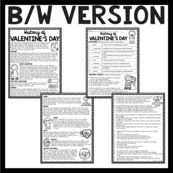 history of valentine 39 s day reading comprehension worksheet february holiday. Black Bedroom Furniture Sets. Home Design Ideas