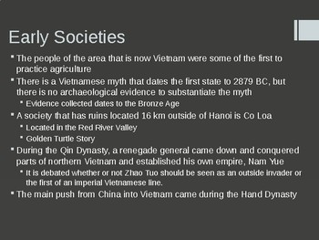 History of Vietnam up to the Start of America's War in Vietnam