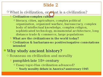 History of Western Civilization to 1648, powerpoint, Intro lecture to course