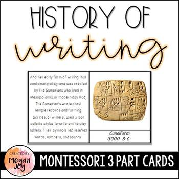 History of Writing 3 Part Cards