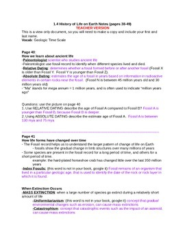 History of life on Earth notes Student and Teacher versions