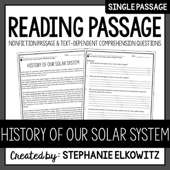 History of our Solar System Reading Passage