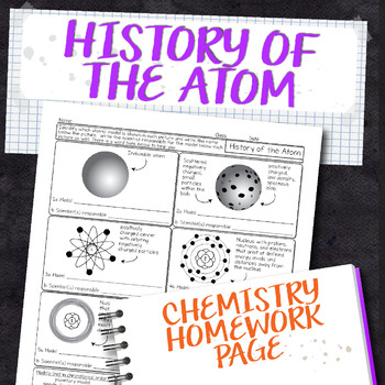 History of the Atom Chemistry Homework Worksheet
