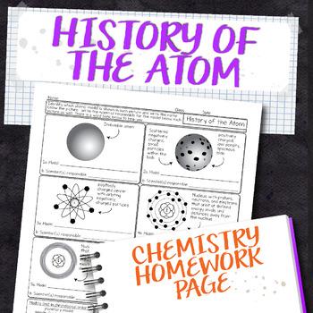 History of the Atom Chemistry Homework Worksheet by ...