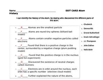 History of the Atom QUIZ