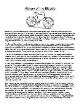 History of the Bicycle Article and Assignment
