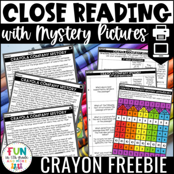 Close Reading Comprehension w/ Mystery Picture Activity Sample Freebie