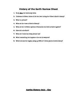 History of the Earth Assessment (Quiz)