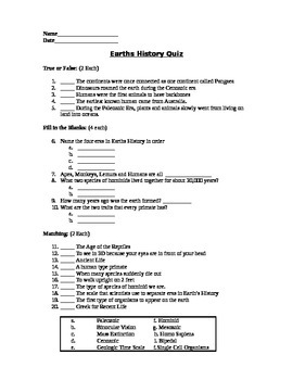 History of the Earth - Assessment (Quiz)