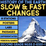 History of the Earth BUNDLE Slow and Fast Changes Second Grade Science Stations