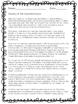 History of the Haunted House - Halloween - Article & Comprehension Questions