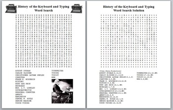 History of the QWERTY Keyboard and Typing Word Search with