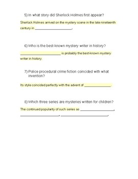 History of the Mystery (Fill In The Blanks)
