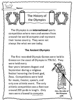 History of the Olympics- Non-fiction Comp. Passages and Activities (High)