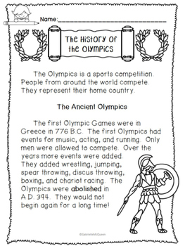 History of the Olympics- Non-fiction Comprehension Passages and Activities (Low)