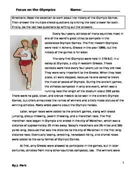History of  the Olympics Sports  Mini-lesson w/ 12  Reading Comprehension Questi