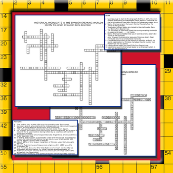 History of the Spanish Speaking World - Culture Crossword Puzzle Worksheets