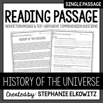 History of the Universe Reading Passage