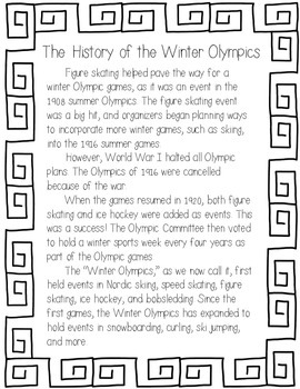 History of the Winter Olympics Reading Passage and Comprehension Questions