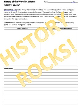 History of the World in 2 Hours Movie Questions, Notes & Explanatory Paragraphs