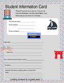 History student information card