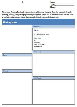 History/Literature Social Profile - Character Map
