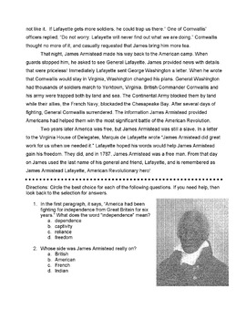 History JAMES ARMISTEAD Informational Text + 12 Multiple Choice Comprehension Qs