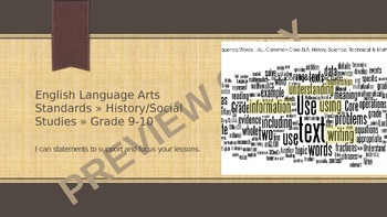 History/Social Studies, Science, & Technical Subjects Common Core Signs