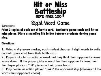 Hit or Miss Battleship Sight Word Game