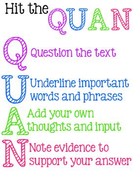 FREE PRINTABLE - Hit the QUAN  - Close Reading Strategies Printable Poster