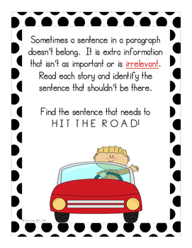 Hit the Road!  Finding the sentence that doesn't belong!  No Prep Lessons!