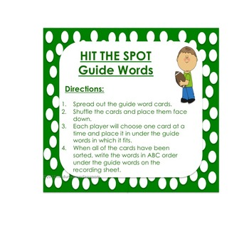 Hit the Spot: Guide Words Dictionary Activity