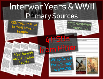Hitler: 4 Primary Sources w/ guiding questions: Mein Kamph, speeches & more