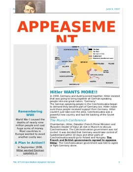 Hitler Appeasement-Reading-Differentiated
